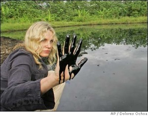 Daryl Hannah in Ecuador, showing Chevron's leftovers