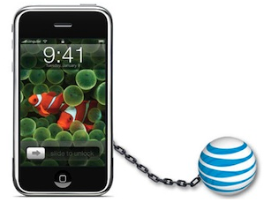 The iPhone chained to the ATT globe, thus the iPhone Ball&Chain