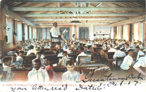 A lector, or reader, in a Havana cigar factory around 1907