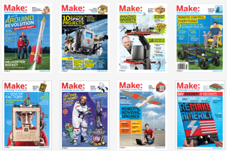 Montage of covers from Make Magazine