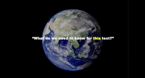 What do we need to know for this test? superimposed over an image of the earth from space
